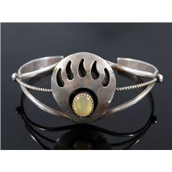 Sterling Silver Bear Paw Bracelet with Stone