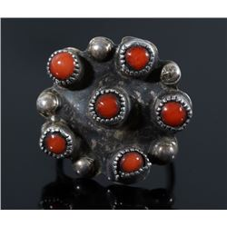 Navajo Sterling Silver Old Pawn Coral Ring