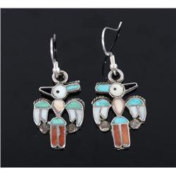 Navajo Silver Multi-Stone Woodpecker Earrings