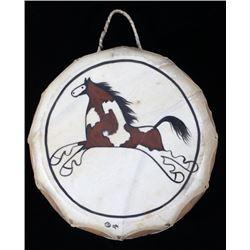 Taos Pueblo Painted Rawhide Drum