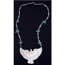Navajo Mother of Pearl Eagle & Turquoise Necklace