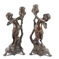 Early Pair of Bronze Cherub Candle Holders