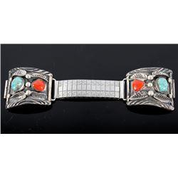 Navajo Coral & Turquoise Silver Watch Band