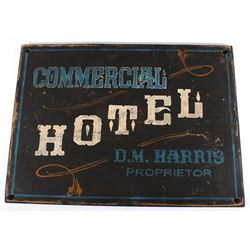 Folk Art Painted D.M. Harris Hotel Painted Sign