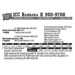 Lot - 12F - ICC Barbara K 905-9708