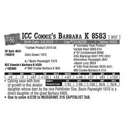 Lot - 86 - ICC Connie's Barbara K 8583 [ NHF ]