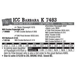 Lot - 99 - ICC Barbara K 7483