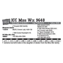 Lot - 100A - ICC Miss Wix 9648