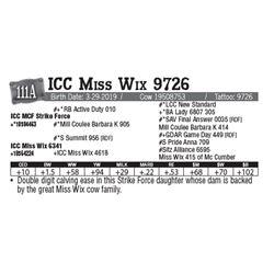 Lot - 111A - ICC Miss Wix 9726