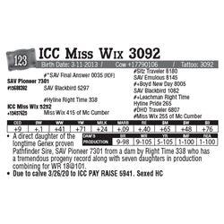 Lot - 123 - ICC Miss Wix 3092