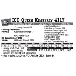 Lot - 183 - ICC Queen Kimberly 4117