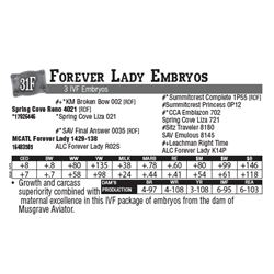 Lot - 31F - Forever Lady Embryos