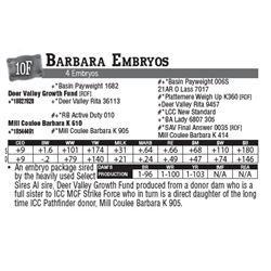 Lot - 10F - Barbara Embryos