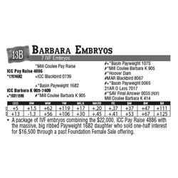 Lot - 13B - Barbara Embryos