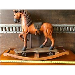 WOODEN ROCKING HORSE, CAROUSEL DESIGN, APPROX