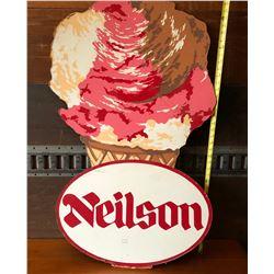 "NEILSON ICE CREAM SIGN APPROX 25"" X 40"" ON MASONITE BOARD PHOTOS SHOW MINOR CRACKS"