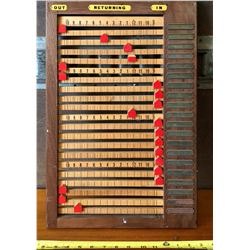 """1950'S EMPLOYEE'S IN & OUT BOARD - APPROX 13"""" X 20"""""""
