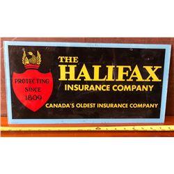 "HALIFAX INSURANCE CO ACRYLIC SIGN - 9"" X 18"""