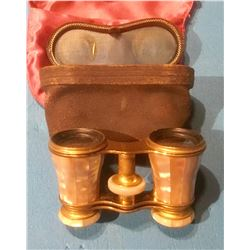 ANTIQUE OPERA GLASSES WITH MOTHER OF PEARL FINISH & LEATHER CASE
