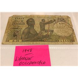 1948 L' AFRIQUE OCCIDENTALE NOTE