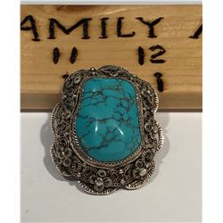 SILVER & TURQUOISE BROACH