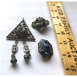 GR OF 3, BROACHES - ? SILVER