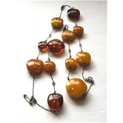 CHAIN WITH AMBER COLOURED STONES - ? SILVER