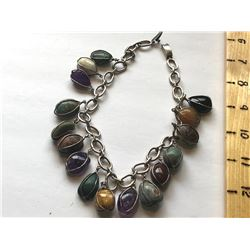 SILVER CHAIN WITH POLISHED STONES NECKLACE
