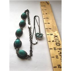 GR OF 2, SILVER NECKLACES WITH TURQUOISE STONES