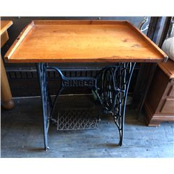 ANTIQUE PINE DOUGH BOARD TABLE TOP ON SEWING MACHINE BASE