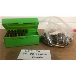 AMMO:  130 X .22 LOVEL - RELOADS