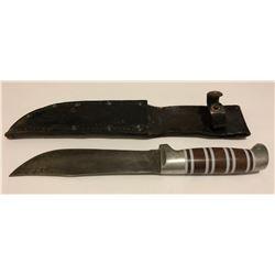 "HUNTING KNIFE, 6.5"" BLADE W/ LEATHER SHEATH"