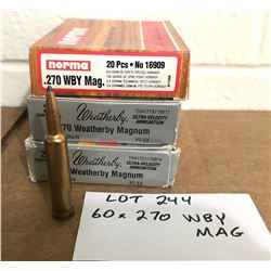 AMMO: 60 X .270 WEATHERBY MAG
