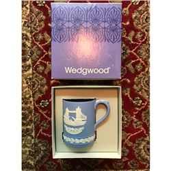 Vintage 1975 Wedgwood Blue Jasper-ware Mug, Tower Bridge London, Original Box