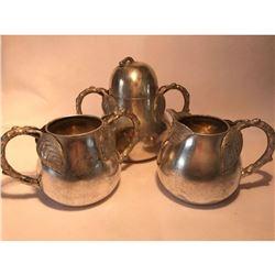 Rare 1870's Silverplate James Tufts Boston Tea Accessories, Caddy, Sugar, Creamer