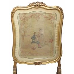 Antique Gilt Carved Needlepoint Screen
