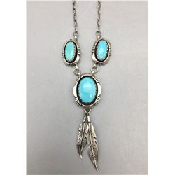 Turquoise and Sterling Silver Necklace - M. Nez