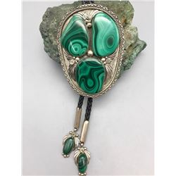 Unique Malachite and Sterling Bolo Tie