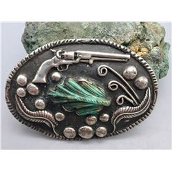 Unique Vintage Carved Turquoise Belt Buckle