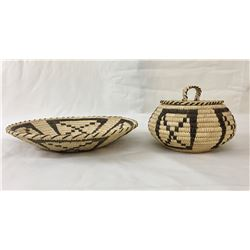 Two Vintage Tohono O'Odham Baskets