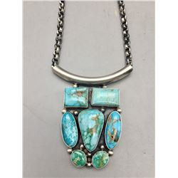 Turquoise Cluster Pendant with Handmade Chain