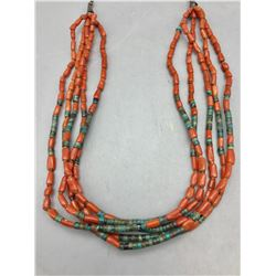 Four Strand Coral and Turquoise Necklace