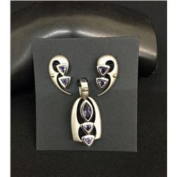 Amethyst Sterling Silver and 14K Gold Pendant and Earrings Set