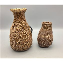 Two Vintage Twined Apache Baskets