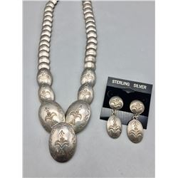 """Vintage """"Pillow"""" Necklace and Earring Set"""