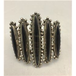 Mid-Century Sterling Silver and Obsidian Bracelet