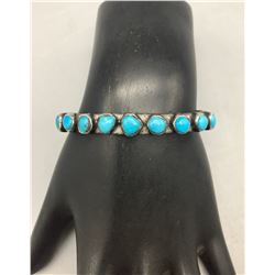 Vintage Ingot Bracelet with 9 Turquoise Stones