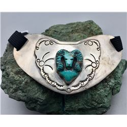 Sterling Silver Neck Collar - Bolo With Carved Turquoise