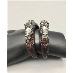 Two Sterling Silver Horse Head and Braided Leather Bracelet