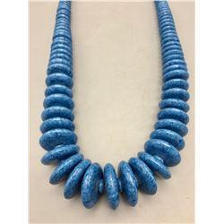 Graduated Denim Lapis Bead Necklace